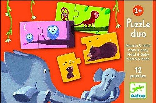 Djeco 79690 – Puzzle Duo – Mama und Baby – 2-teilig, Multicolour