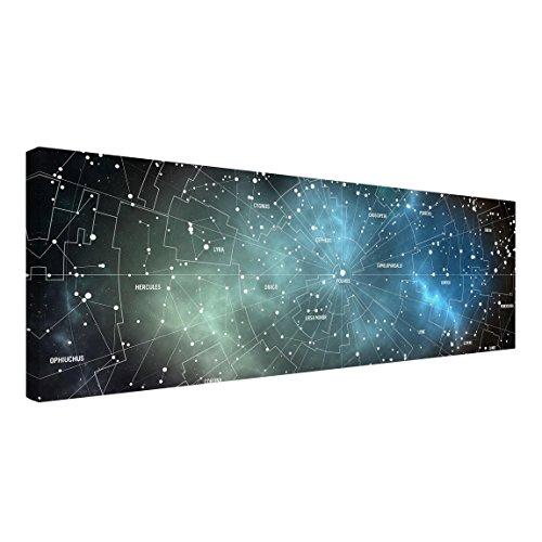 Leinwandbild - Sternbilder Karte Galaxienebel - Panorama Quer, 50cm x 150cm