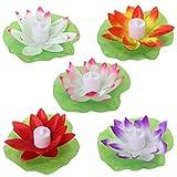 Xurgm 5 Stück Lotus Licht Wasserdichte Schwimmende Lotus Licht Pool Teich Garten Wasser Blume LED für Pool Teich Dekoration Multicolor
