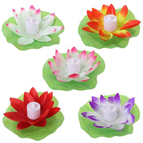 Xurgm 5 Stück Lotus Licht Wasserdichte Schwimmende Lotus Licht Pool Teich Garten Wasser Blume LED für Pool Teich Dekoration Multicolor (Schwimmende Lotus Kerzen)