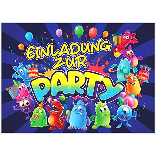 VULAVA 10x EINLADUNGSKARTEN für Party und Kindergeburtstag - die Karten im frech bunten Monster Design sind die perfekte EINLADUNG für Jungen Mädchen Kinder zum Geburtstag Einschulung und KINDERPARTY