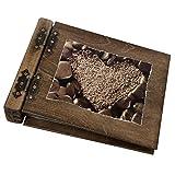 Holzalbum Aldecor Fotoalbum aus Holz mit Herz in steinen Motiv 75 Blatt