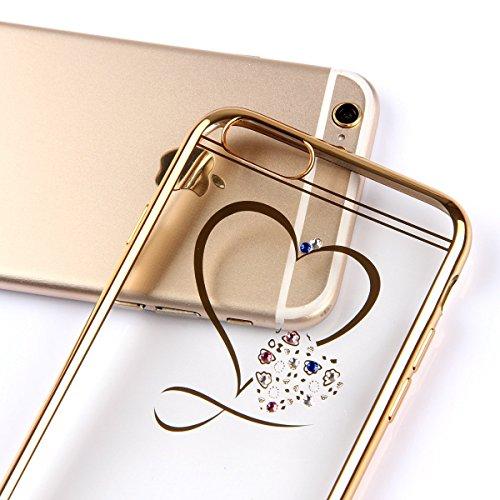 6S iPhone-Custodia per iPhone 6, motivo: delfini MASUMARK, motivo floreale con strass, colore: trasparente, in gomma, motivo: diamanti, colore: oro placcato Electroplate cornice paraurti in Silicone T Love Heart 4.7 - Gold
