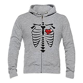 Skeleton Heart Mens Zipper Hoodie XX-Large