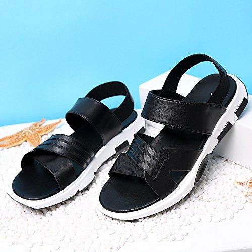 uomini sandali, sport casual, scarpe da spiaggia, genuino traspirante sandali degli uomini, il nero, US10 / EU43 / UK9 / CN44 estate US7/EU39/UK6/CN39
