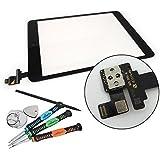 Trop Saint® Vitre Tactile Facade iPad Mini 1/2 Noir + Adhesif + La Puce IC  - Façade Compatible Uniquement avec iPad Mini 1 et 2 Retina