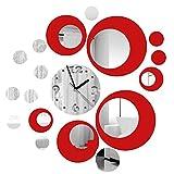 Itian Reloj de Pared de Metal con la Decoración Efecto de Espejo Moderno Etiqueta de la Pared de Diseño para Sala de Estar / Dormitorio, etc (Plata y Rojo)