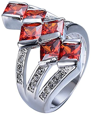 SaySure White Gold Filled Ruby Anniversary Wedding & Engagement Ring