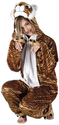 Boland 88018 - Erwachsenenkostüm Tiger Plüsch, Einteiler mit Kapuze, Gröߟe M / L (Tiger Kostüm)