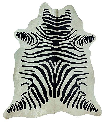 Peau de vache zèbre, env. 3m², noir et blanc, en fourrure véritable cuir?Robuste et durable?pour la comme tapis ou Décor mural?Sous Tables, des chaises ou comme lit Tapis