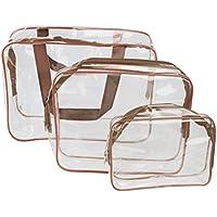 ROSENICE PVC Transparent Trousse de maquillage/Fournitures Voyage Sac pochette cosmétique (brun)
