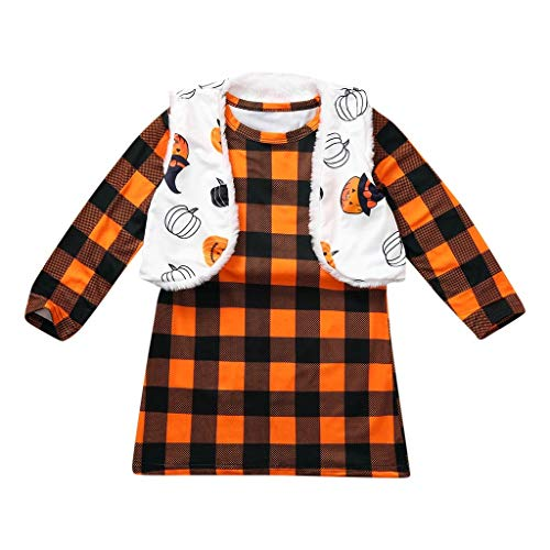 Kostüm Plaid Kinder - BaZhaHei Halloween Kostüm Kleiner Halloween Kinder Kinder Mädchen Plaid Printed Dress + Reversible Coat Vest Set Anzug Festival Cosplay Halloween Outfits Set