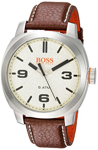 Movado Group Inc - dba Hugo Boss Men's 'CAPE TOWN' Quartz Stainless Steel and Leather Casual Watch, Color:Brown (Model: 1513411)