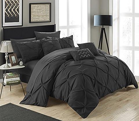 Chic Maison 10pièces Hannah Pincez plissé, volants et plissé complet dans un sac de Doudou Beige avec lit King size de lit, noir, King