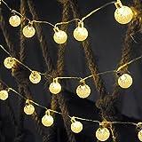 Ascher Solar-Außenlichterkette–30LEDs Lichterkette warmweiß Kristallkugeln Weihnachtskugeln Leuchten für Außenbereich, Garten, Haus, Pfad, Weihnachten, Landschaftsdekoration