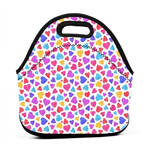Watercolour Valentine Neoprene Lunch Bag with Cutlery Case for Thermal Thick Lunch Tote Bag for Adults,Kids