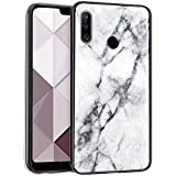 Surakey Compatible for Huawei P30 Lite Case, Ultra Thin Slim Tempered Glass Back Cover with TPU Frame Scratch-Resistant Soft Bumper Protection Shockproof Protective Case,White Marble