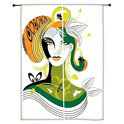 snoogg-colore-abstract-woman-detachant-feuille-verte-polyester-drapes-rideaux-occultants-762-cm-l-x-