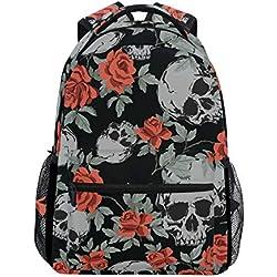 Grunge - Mochila de viaje para portátil, diseño de calaveras humanas y rosas, resistente al agua, para colegio, para mujeres y hombres, para acampar al aire libre y hasta 14 pulgadas