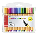 STABILO point 88 Mini - Pochette de 18 stylos-feutres pointe fine - dont 5 couleurs fluos