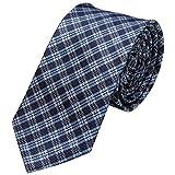 GASSANI Schmale dünne 6cm Krawatte kariert | Karo Herrenkrawatte zum Sakko Anzug | Schlips Binder mit Dunkelblaue Blaue Karos