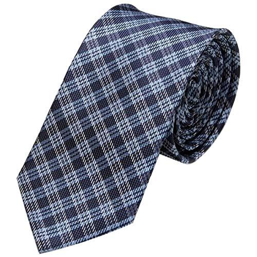 Dunkelblaue Italienischer Anzug (GASSANI Schmale dünne 6cm Krawatte kariert | Karo Herrenkrawatte zum Sakko Anzug | Schlips Binder mit Dunkelblaue Blaue Karos)