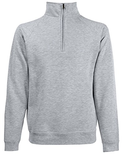 Fruit of the Loom: Zip Neck Sweat 62-114-0, Größe:2XL;Farbe:Heather Grey