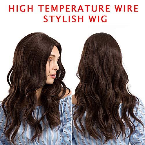 anghaar Schwarz Black Brazilian Frauen Cosplay Lang Synthetische Curly Wavy Hair 50Er 60Er 80Er 70Er ()