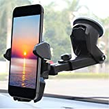 #1: Universal Car Mobile Holder/Long Neck One Touch Car Mount 360° Rotation with Ultimate Reusable Suction Cup for Car Dashboard/Car Windshield/Desktop