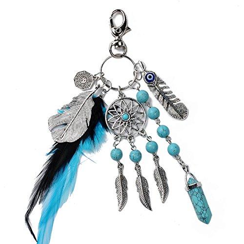 Trendy Modeschmuck (LI&HI Retro Paare Modeschmuck keychain kreativ Nationale Wind Feder Schlüsselbund Taschenanhänger Schlüsselbund)