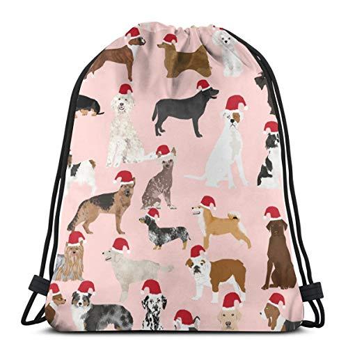 Santa Paws Cute Christmas Dogs Best Dog Christmas Cute Christmas Stocking_25898 Custom Drawstring Shoulder Bags Gym Bag Travel Backpack Lightweight Gym for Man Women 16.9