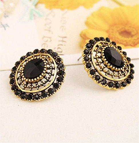 Mode Böhmen Stil Ohrringe Folk benutzerdefinierte Ohrringe Vintage Runde Form Ohrring Geschenk für Frauen (schwarz) -