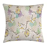 vnsukdlfg Lantern Throw Pillow Cushion Cover, Colorful Origami Cranes Paper with Branches and Flowers East Culture, Decorative Square Accent Pillow Case, 18 X 18 inches, Lilac Pink Beige Yellow