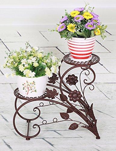 Porte-fleurs en intérieur Porte-Fleurs de Fer Pastorale Pot à Fleurs à Double Couche Porte-Fleurs Salon Balcon Étagères Pot Grilles de fleurs en plein air ( Couleur : B , taille : L*W*H: 45*20*42cm )