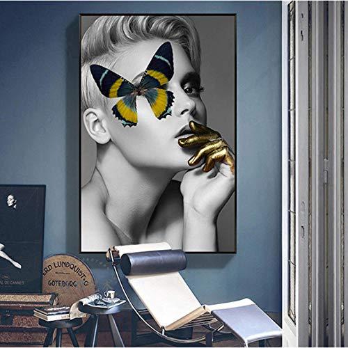 Cyalla Moderne Leinwand Malerei Mode Mädchen Schmetterling Wandkunst Bilder Für Wohnzimmer Nordic Vogue Kunst Schwarz Weiß Drucke Dekoration 60X90 cm (Schwarz Halloween-nagel-kunst Und Weiß)