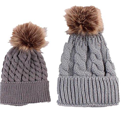 Longra Mama und Baby stricken Wolle Winter halten warme Mütze (Mama Baby Kostüm)