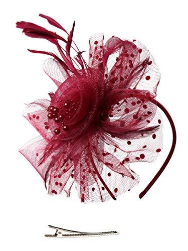 Feibao Fascinators Hut Damen Tea Party Stirnband Hochzeit Cocktail Blume Haarspange Derby Headwear