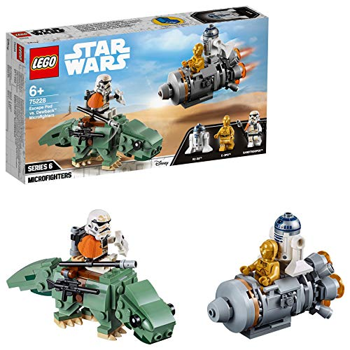 LEGO Star Wars - Microfighters: Escape Capsule vs. Dewback, construction toy with R2-D2 minifigures and C-3PO from Star Wars (75228)