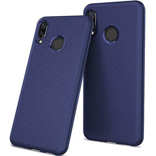 Preisvergleich Produktbild Huawei P Smart + Handyhülle Kohlefaser Texture Blau,  Carbon Fiber Hülle Ultra Dünn Silikon Case Weich TPU Bumper Slim Flexibel Schutzhülle Stoßfest Rutschfest Kratzfest