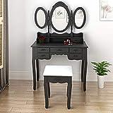 Panana Anaelle Coiffeuse Meuble en MDF avec Tabouret, 7 Tiroirs et 3 Miroirs Ovale pour Chambre, Taille: 89 * 39 * 143cm, Poids: 21kg, Noir