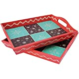 Crafticia Wooden Hand Painted Serving Tray Set Of 2 Decorative Handicraft Gift Item Home Decor Rajasthani Showpiece
