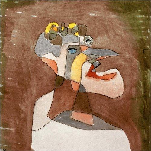 Poster 70 x 70 cm: Der Mann mit dem Mundwerk 1930 von Paul Klee/akg-Images - hochwertiger Kunstdruck, neues Kunstposter