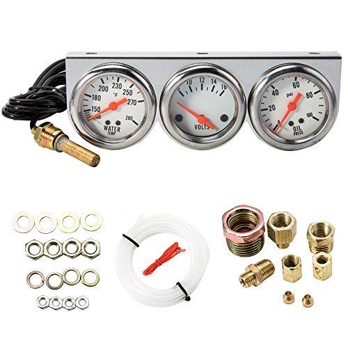 Universelles dreifach Messgerät, 3in1:Öldruck, Wassertemperaturanzeige und Voltmeter für Auto und Motorrad, 5,1 cm Anzeige