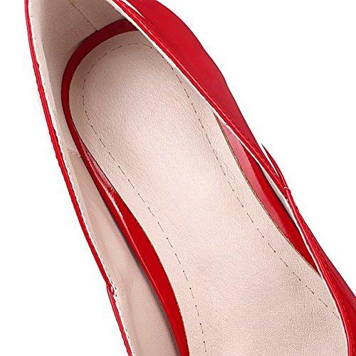 VogueZone009 Femme Tire à Talon Bas Pu Cuir Couleur Unie Pointu Chaussures Légeres Rouge