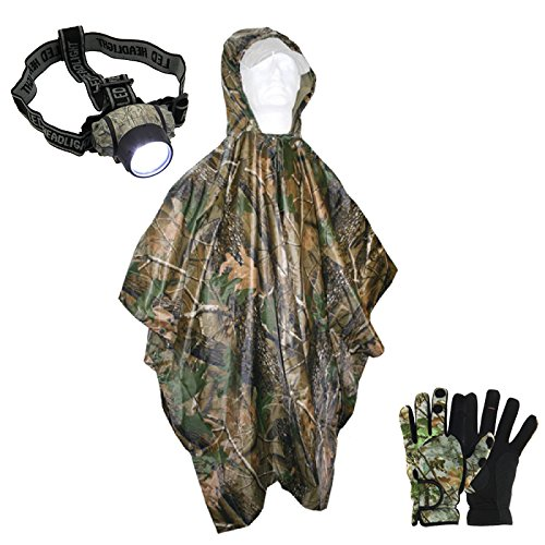 G8DS® Regen-Angel-Set: G8DS® Regenponcho + G8DS® Neopren-Angel-Handschuhe in Größe L + G8DS® 19 LED Stirnlampe Kopflampe Karpfenangeln Ausrüstung Angeln Schiff Meer (L)