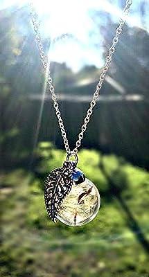 Chaîne en argent sterling Collier de pissenlit breloque de feuille - pendentif feuille collier de breloque bijoux uniques pour femmes