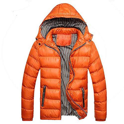 Hommes Mince Doudoune Souple Chaud Slim Fit DéTachable Manteau Veste Blouse Blouson Pardessus Hiver Autumne Casual Sweatshirt Sport Pullover Orange XXL