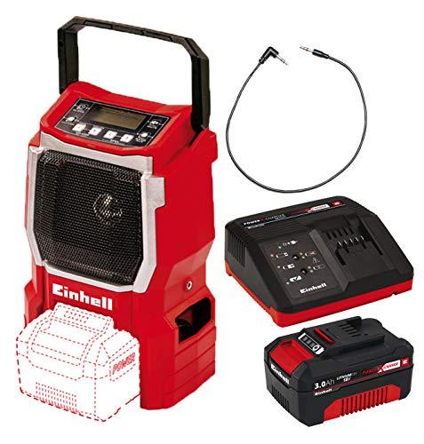 Einhell Akku Radio TE-CR 18 Li Solo Power X-Change (Lithium Ionen, 18 V, AUX inklusive Anschlusskabel für Handy, MP3-Player) + Starter Kit Akku und Ladegerät Power X-Change (Lithium Ionen, 18 V)