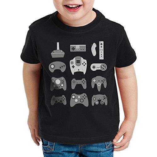 style3 Game Pad T-Shirt für Kinder controller videospiel spielekonsole, Farbe:Schwarz;Größe:152
