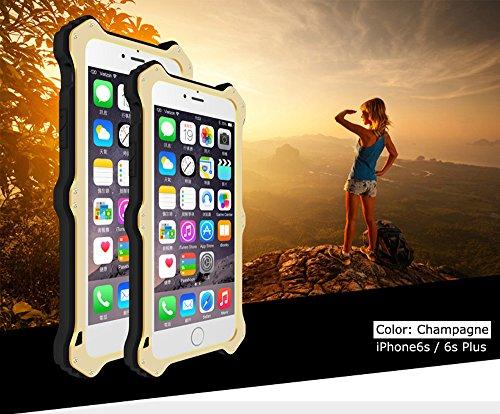Love Mei [MK2] Wireless Charging Empfänger für Apple iPhone 6S, Qi Standard stoßfest staubdicht Aluminium Metall Hülle mit Luxus Leder Cover und Gorilla Glas * 2Jahre Garantie * Champagnerfarben